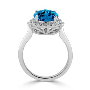 Halo Swiss Blue Topaz Diamond Ring in 14K White Gold with 3.60 carat Round Swiss Blue Topaz