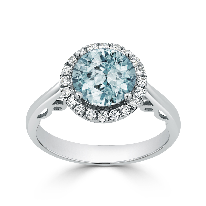 Halo Aquamarine Diamond Ring in 14K White Gold with 1.75 carat Round Aquamarine