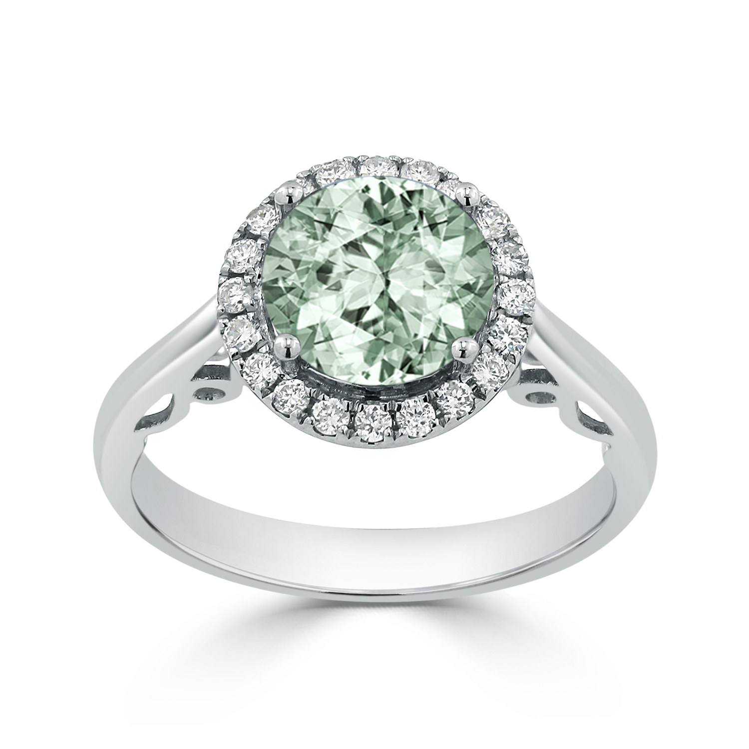Halo Green Amethyst Diamond Ring in 14K White Gold with 1.75 carat Round Green Amethyst