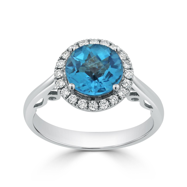 Halo Swiss Blue Topaz Diamond Ring in 14K White Gold with 2.50 carat Round Swiss Blue Topaz