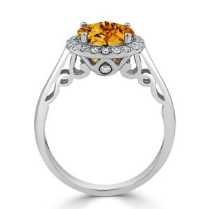 Halo Citrine Diamond Ring in 14K White Gold with 2.50 carat Round Citrine