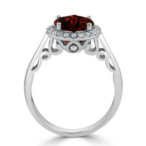 Halo Garnet Diamond Ring in 14K White Gold with 2.50 carat Round Garnet