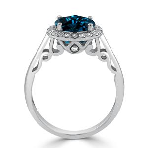 Halo London Blue Topaz Diamond Ring in 14K White Gold with 2.50 carat Round London Blue Topaz