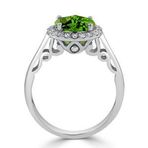 Halo Peridot Diamond Ring in 14K White Gold with 2.50 carat Round Peridot