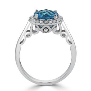 Halo Swiss Blue Topaz Diamond Ring in 14K White Gold with 2.50 carat Round Swiss Blue Topaz