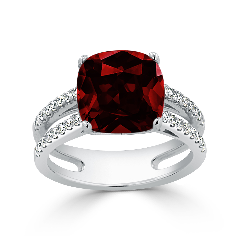 Halo Garnet Diamond Ring in 14K White Gold with 5 carat Cushion Garnet