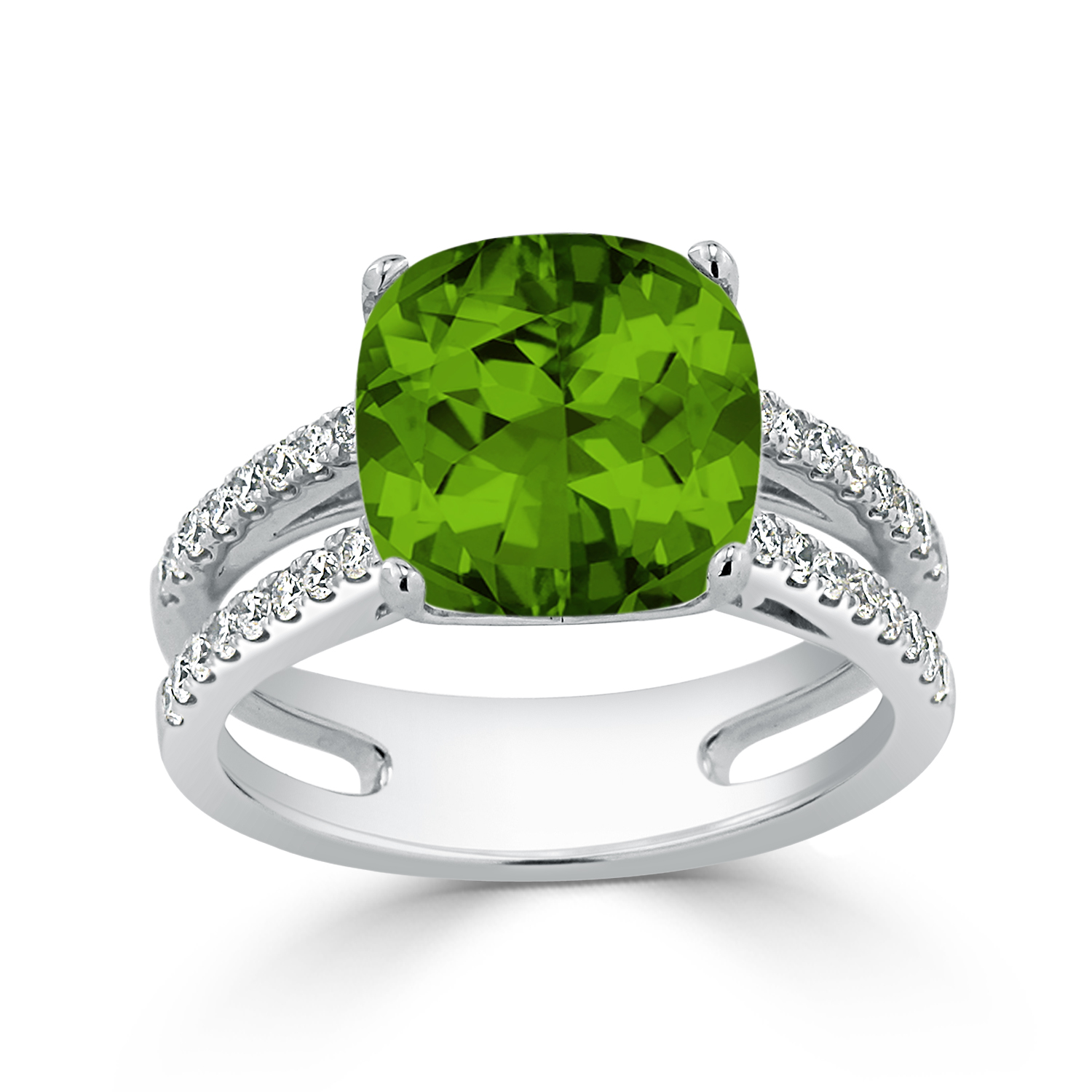 Halo Peridot Diamond Ring In 14k White Gold With 5 Carat Cushion Peridot