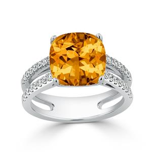 Halo Citrine Diamond Ring in 14K White Gold with 5 carat Cushion Citrine