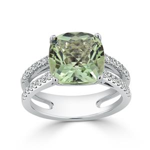Halo Green Amethyst Diamond Ring in 14K White Gold with 3.50 carat Cushion Green Amethyst