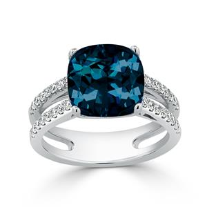 Halo London Blue Topaz Diamond Ring in 14K White Gold with 5 carat Cushion London Blue Topaz