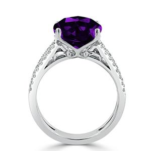 Halo Purple Amethyst Diamond Ring in 14K White Gold with 3.50 carat Cushion Purple Amethyst