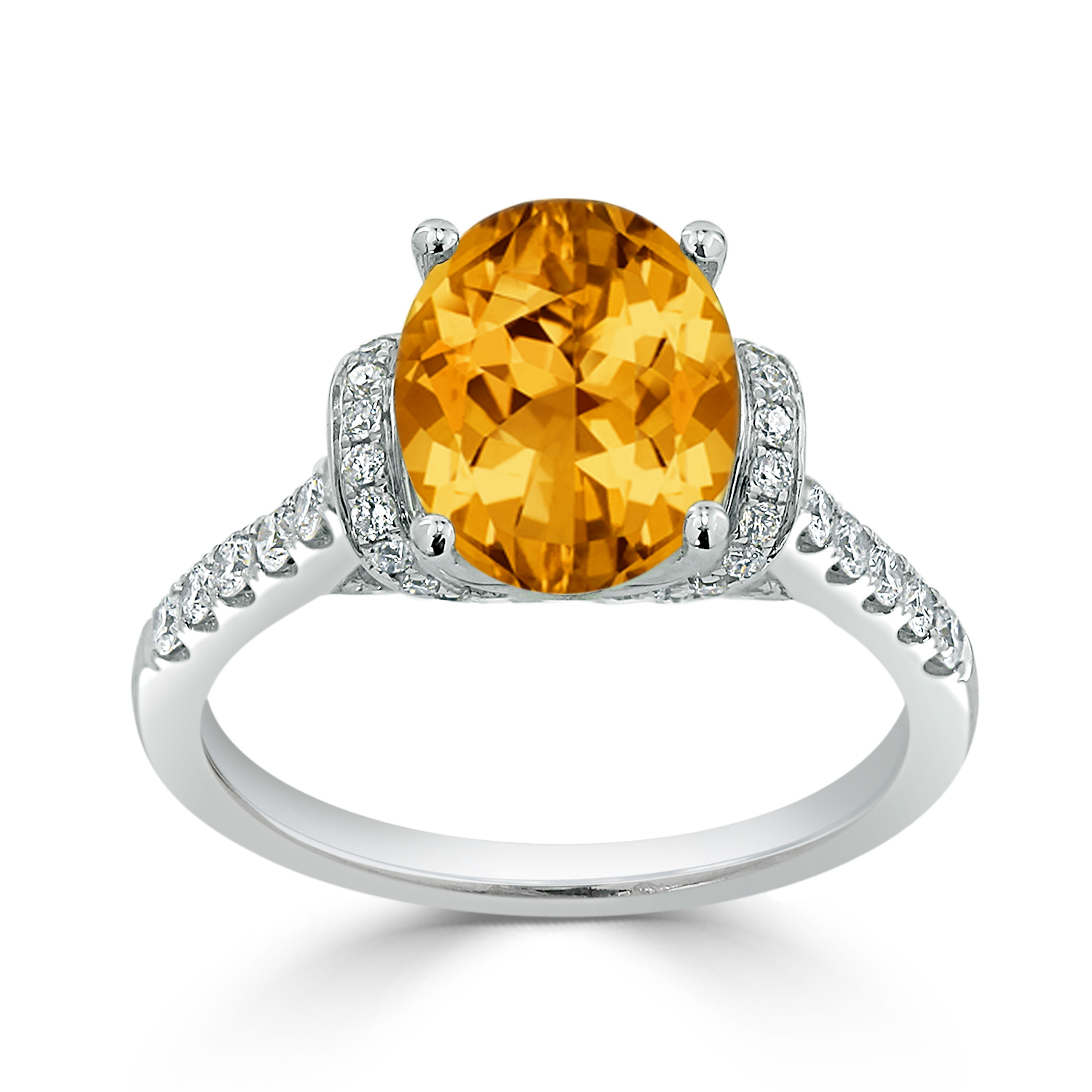 Halo Citrine Diamond Ring in 14K White Gold with 2.30 carat Oval Citrine