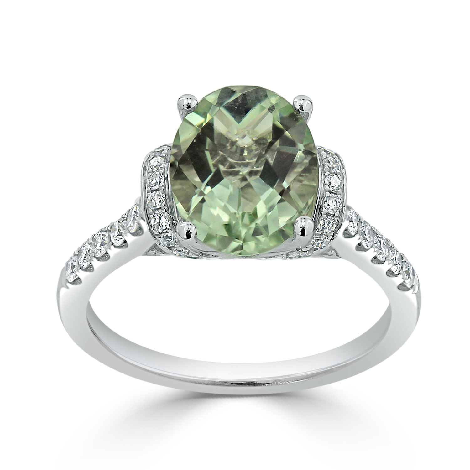 Halo Green Amethyst Diamond Ring in 14K White Gold with 1.65 carat Oval Green Amethyst