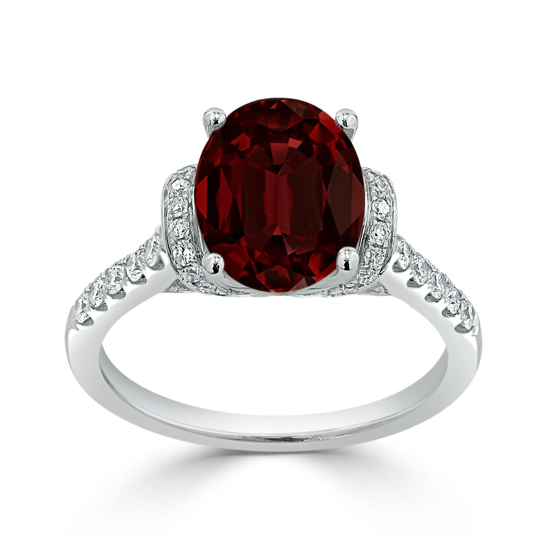 Halo Garnet Diamond Ring in 14K White Gold with 2.30 carat Oval Garnet