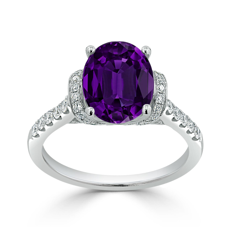 Halo Purple Amethyst Diamond Ring in 14K White Gold with 1.65 carat Oval Purple Amethyst