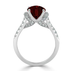 Halo Garnet Diamond Ring in 14K White Gold with 2.30 carat Oval Garnet