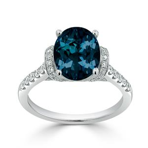 Halo London Blue Topaz Diamond Ring in 14K White Gold with 2.30 carat Oval London Blue Topaz
