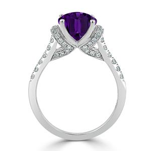 Halo Purple Amethyst Diamond Ring in 14K White Gold with 1.65 carat Oval Purple Amethyst