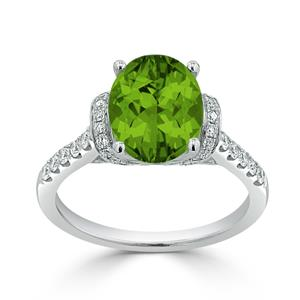 Halo Peridot Diamond Ring in 14K White Gold with 2.30 carat Oval Peridot