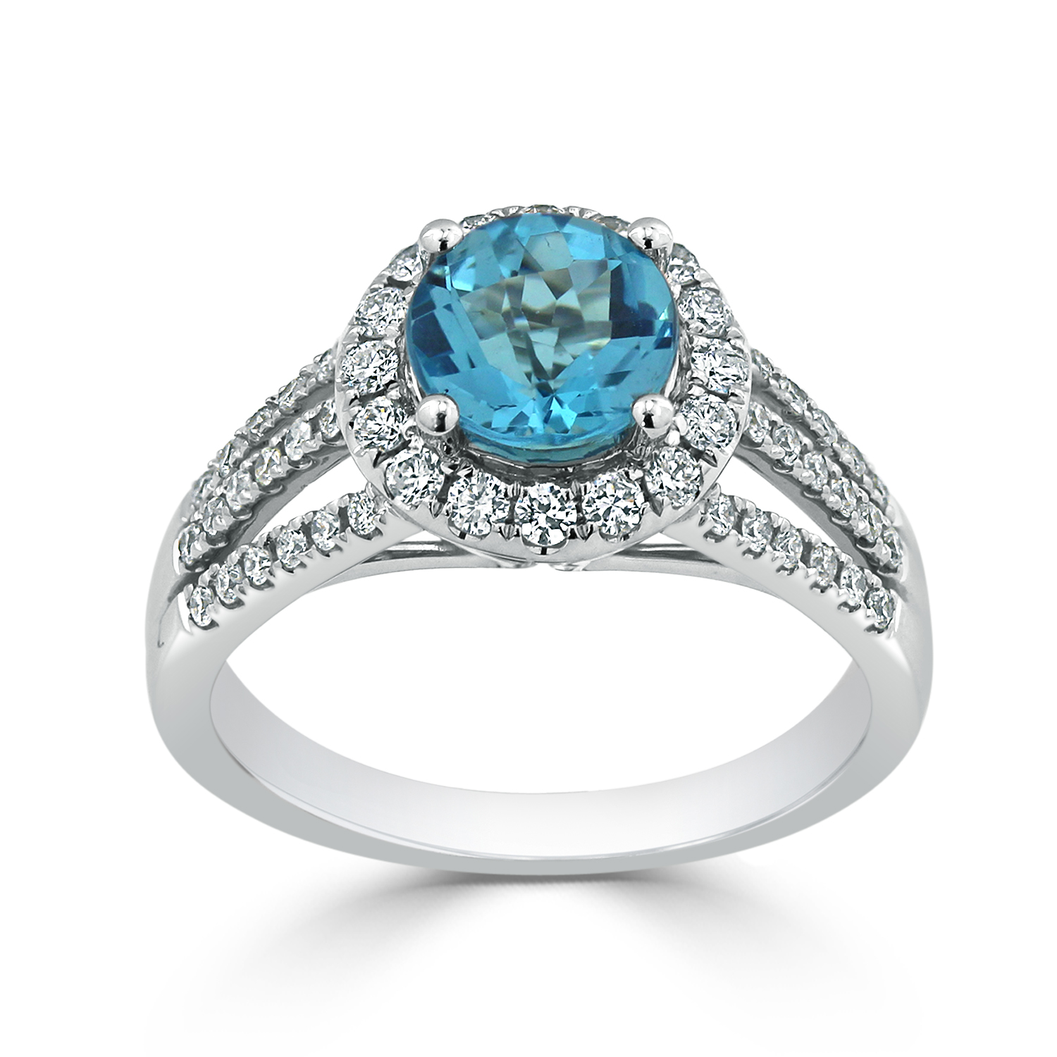 Halo Sky Blue Topaz Diamond Ring in 14K White Gold with 1.30 carat Round Sky Blue Topaz