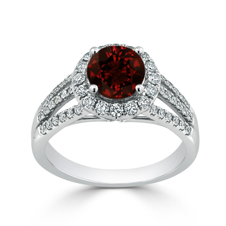Halo Garnet Diamond Ring in 14K White Gold with 1.30 carat Round Garnet