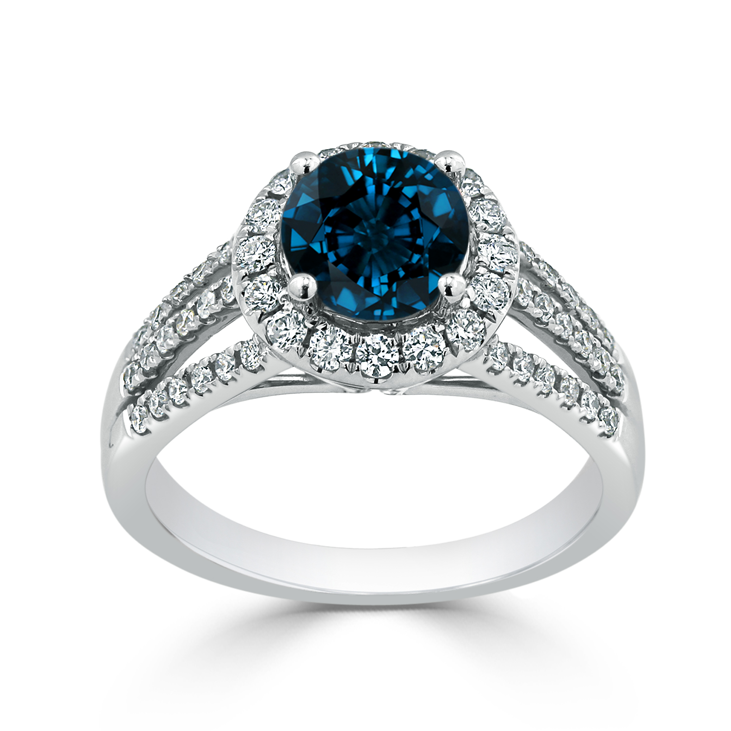 Halo London Blue Topaz Diamond Ring in 14K White Gold with 1.30 carat Round London Blue Topaz