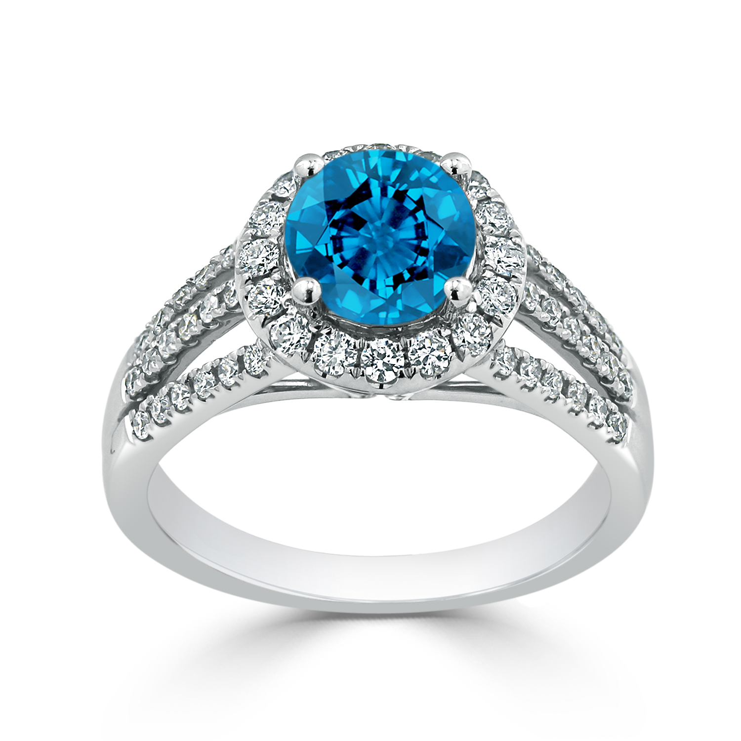 Halo Swiss Blue Topaz Diamond Ring in 14K White Gold with 1.30 carat Round Swiss Blue Topaz