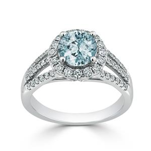 Halo Aquamarine Diamond Ring in 14K White Gold with 0.95 carat Round Aquamarine