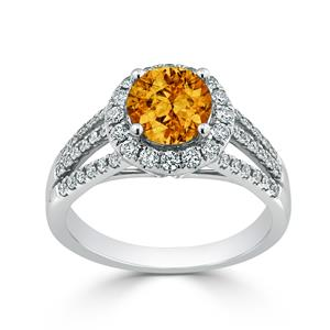 Halo Citrine Diamond Ring in 14K White Gold with 1.30 carat Round Citrine