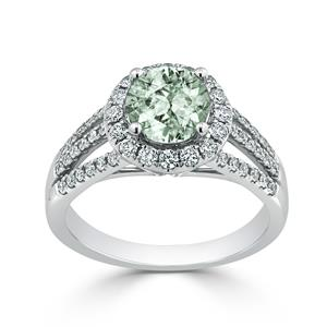 Halo Green Amethyst Diamond Ring in 14K White Gold with 0.95 carat Round Green Amethyst