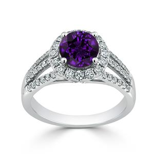 Halo Purple Amethyst Diamond Ring in 14K White Gold with 0.95 carat Round Purple Amethyst