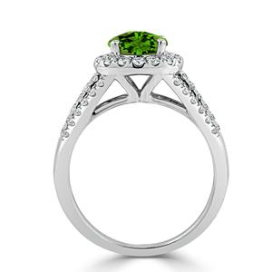 Halo Peridot Diamond Ring in 14K White Gold with 1.30 carat Round Peridot
