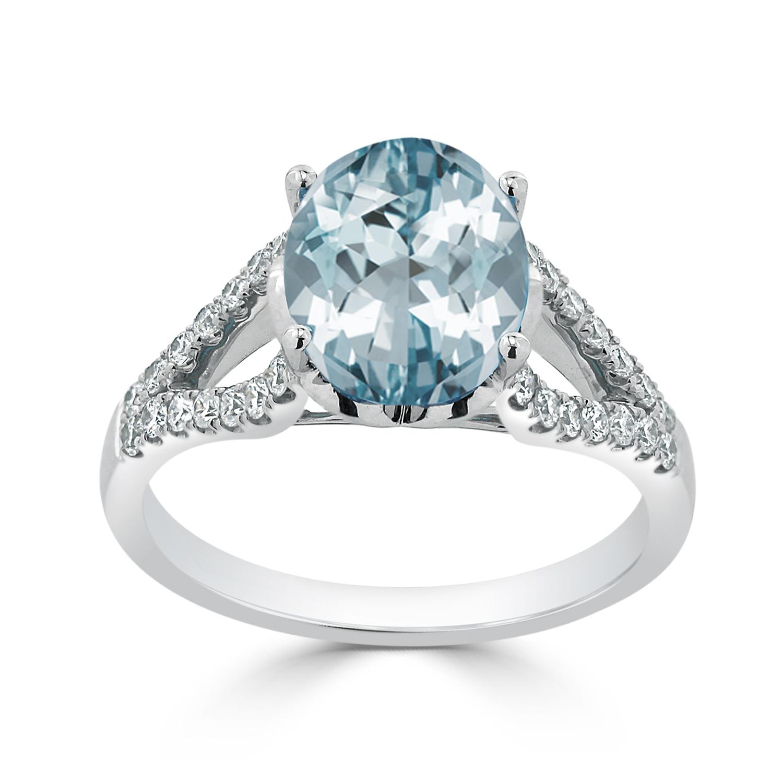 Halo Aquamarine Diamond Ring in 14K White Gold with 2.30 carat Oval Aquamarine