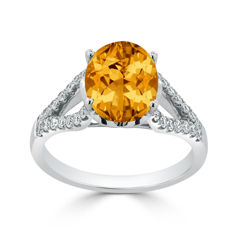 Halo Citrine Diamond Ring in 14K White Gold with 3.30 carat Oval Citrine