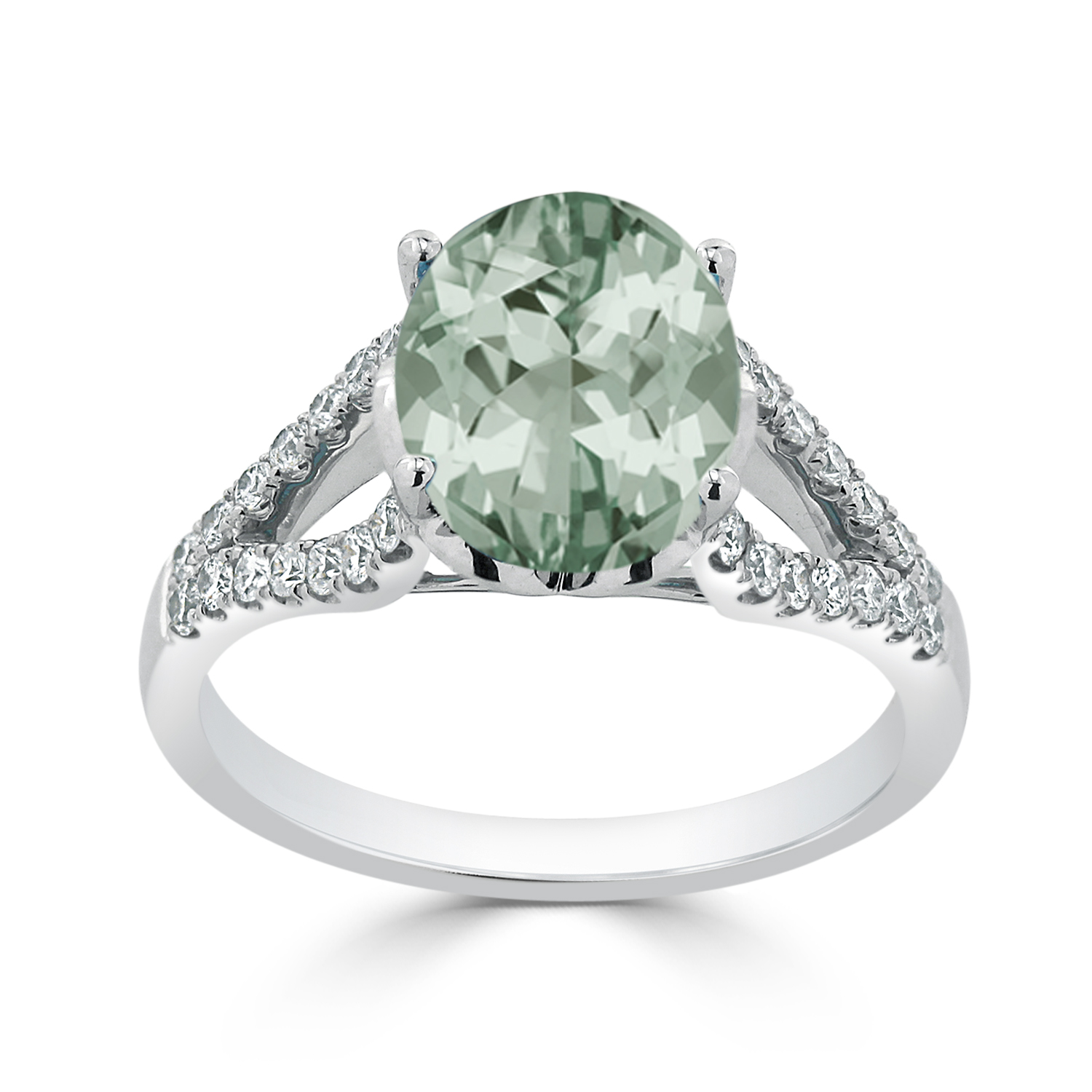 Halo Green Amethyst Diamond Ring in 14K White Gold with 2.30 carat Oval Green Amethyst