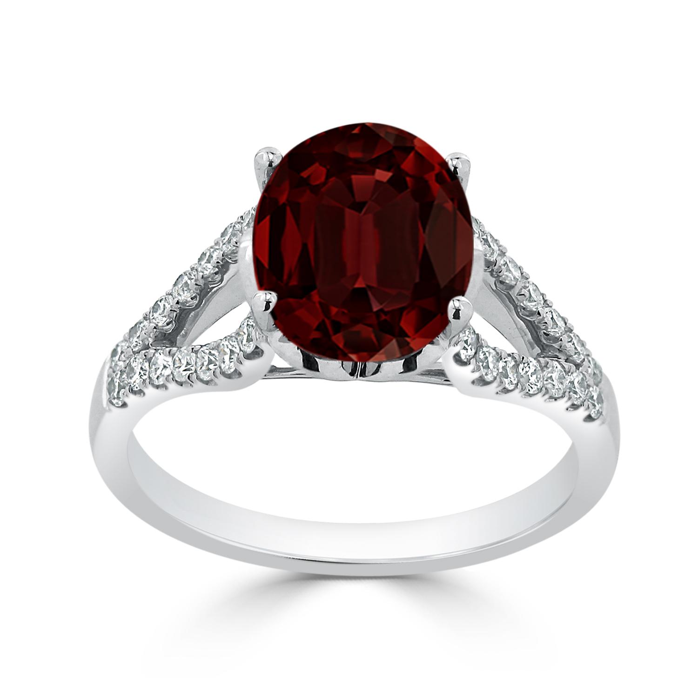 Halo Garnet Diamond Ring in 14K White Gold with 3.30 carat Oval Garnet