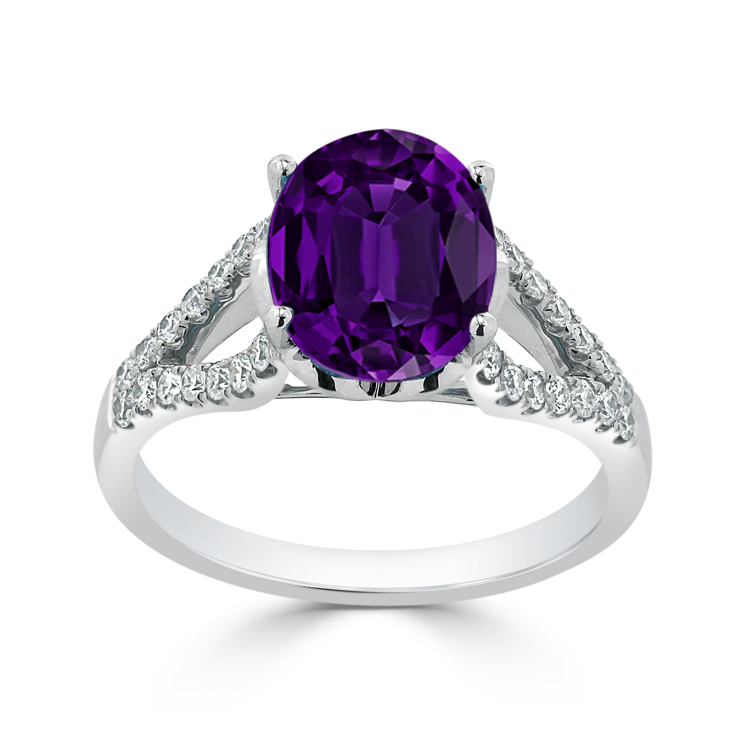 Halo Purple Amethyst Diamond Ring in 14K White Gold with 2.30 carat Oval Purple Amethyst