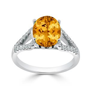 Halo Citrine Diamond Ring in 14K White Gold with 3.30 carat Oval Citrine