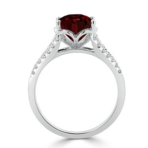 Halo Garnet Diamond Ring in 14K White Gold with 3.30 carat Oval Garnet