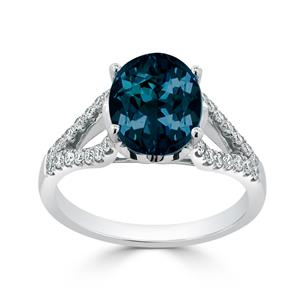 Halo London Blue Topaz Diamond Ring in 14K White Gold with 3.30 carat Oval London Blue Topaz