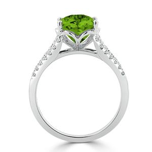 Halo Peridot Diamond Ring in 14K White Gold with 3.30 carat Oval Peridot