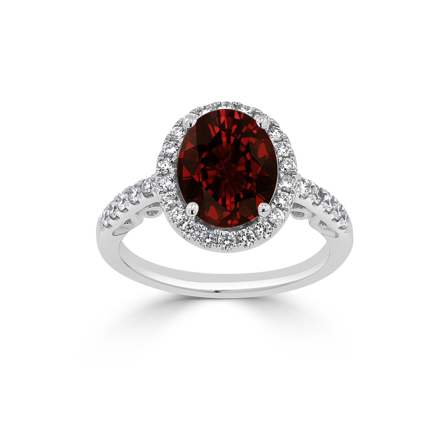 Halo Garnet Diamond Ring in 14K White Gold with 2.90 carat Oval Garnet