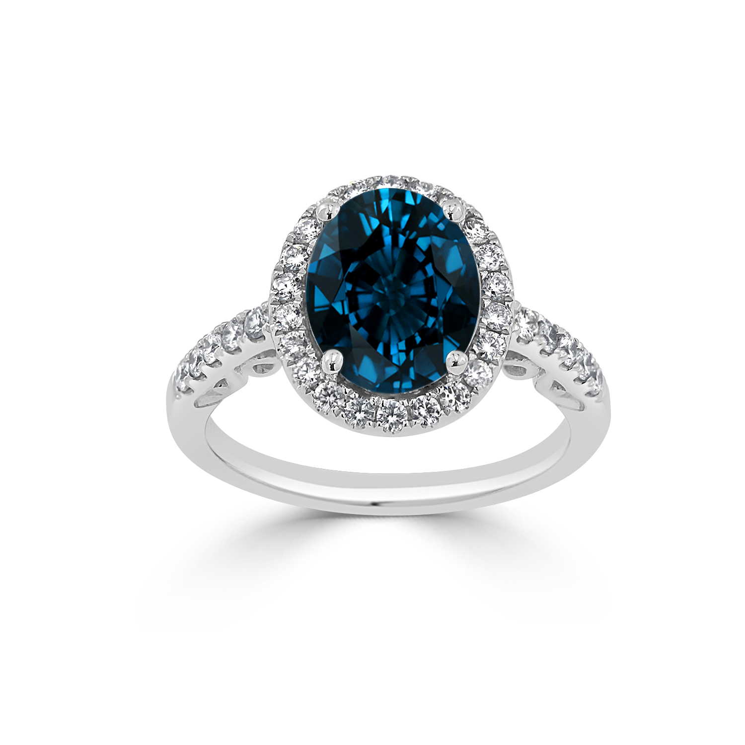 Halo London Blue Topaz Diamond Ring in 14K White Gold with 2.90 carat Oval London Blue Topaz