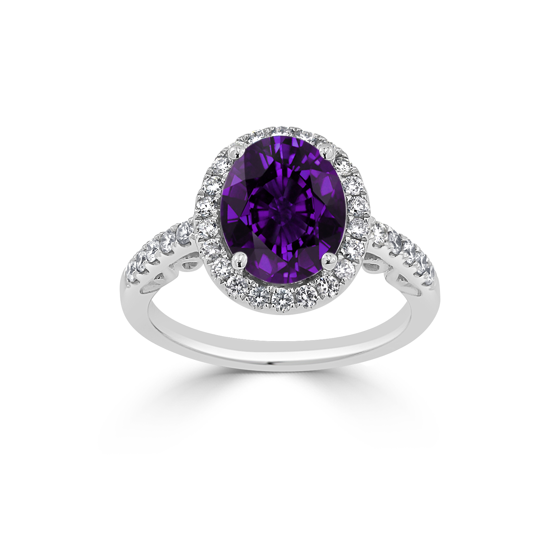 Halo Purple Amethyst Diamond Ring in 14K White Gold with 2.00 carat Oval Purple Amethyst