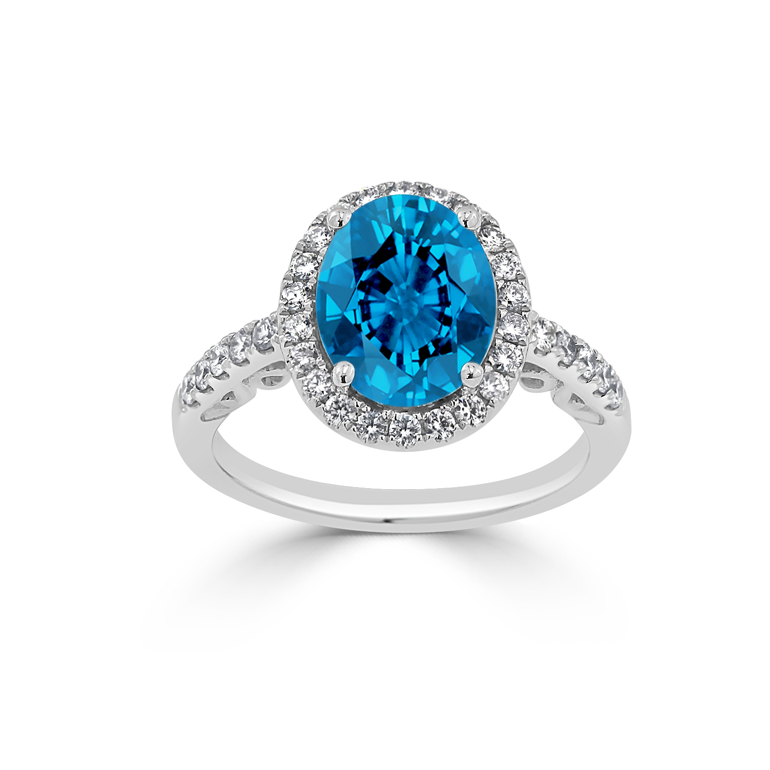Halo Swiss Blue Topaz Diamond Ring in 14K White Gold with 2.90 carat Oval Swiss Blue Topaz