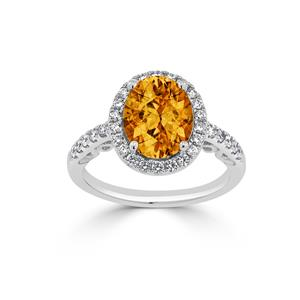 Halo Citrine Diamond Ring in 14K White Gold with 2.90 carat Oval Citrine