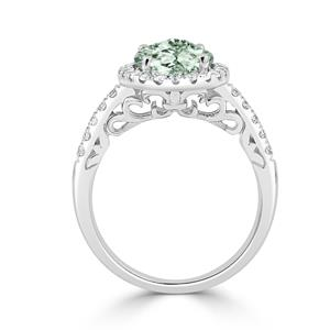 Halo Green Amethyst Diamond Ring in 14K White Gold with 2.00 carat Oval Green Amethyst