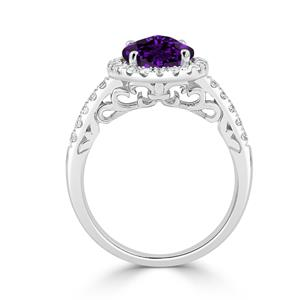 Halo Purple Amethyst Diamond Ring in 14K White Gold with 2.00 carat Oval Purple Amethyst