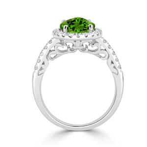 Halo Peridot Diamond Ring in 14K White Gold with 2.90 carat Oval Peridot