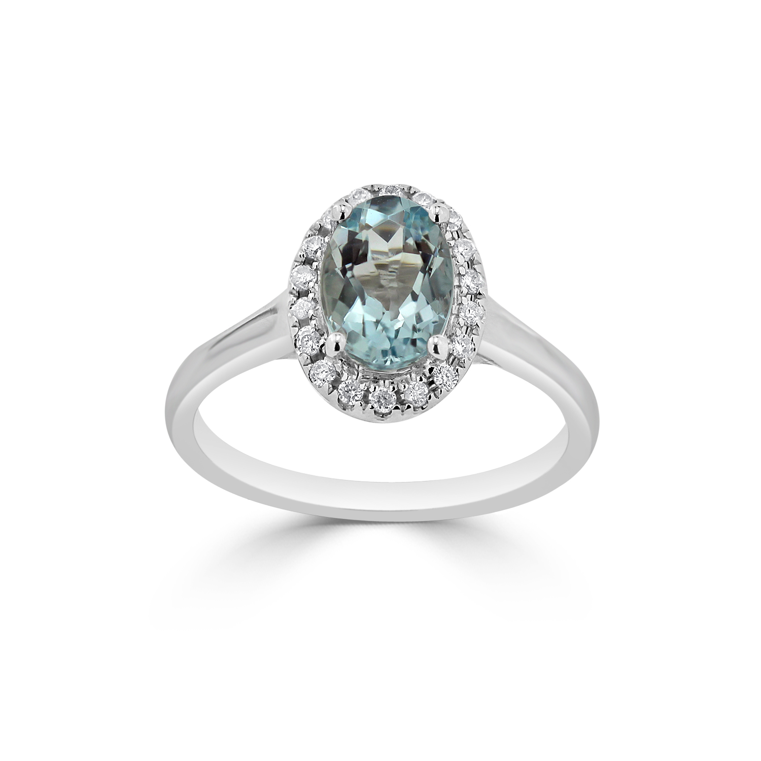 Halo Aquamarine Diamond Ring in 14K White Gold with 0.75 carat Oval Aquamarine